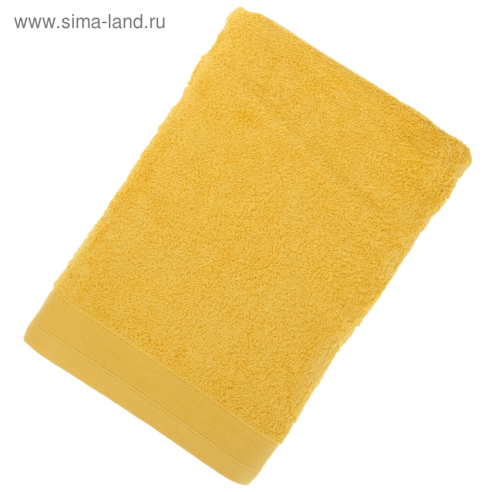 Полотенце махровое гладкокрашеное, размер 100х150 см, 500 г/м², цвет жёлтый