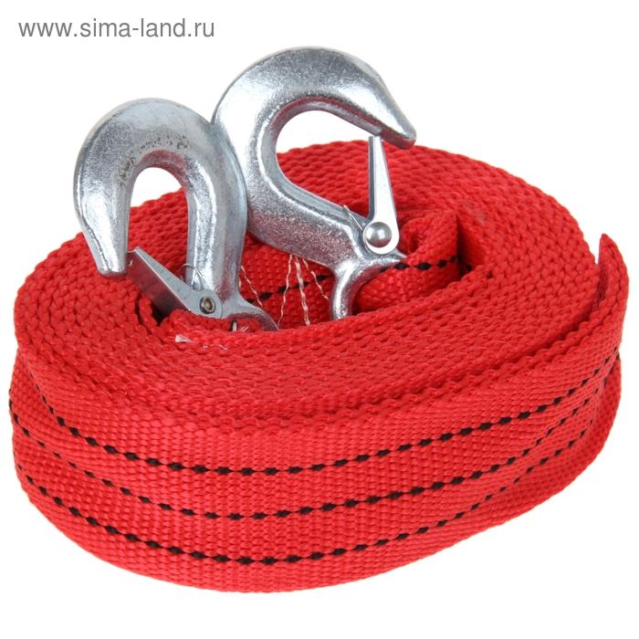 Трос-лента буксировочный TORSO, premium, длина 5 метров, 10 т., 2 крюка, в чехле, красный