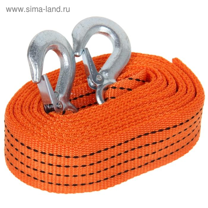 Трос-лента буксировочный TORSO premium, 5 м, 5 т, 2 крюка, оранжевый