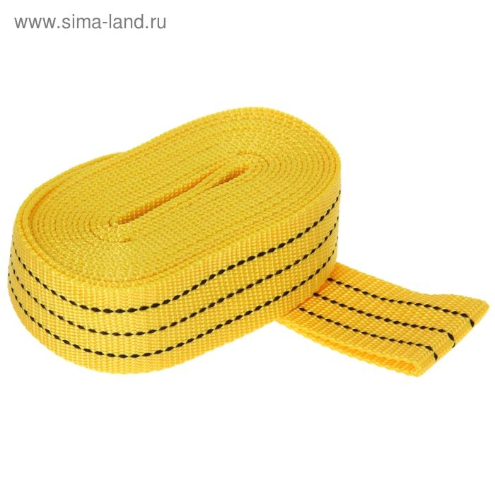 Трос-лента буксировочный TORSO, premium, длина 5 метров, 5 т., без крюков, в пакете, жёлтый