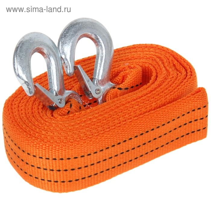 Трос-лента буксировочный TORSO, premium, длина 5 метров, 7 т., 2 крюка, оранжевый