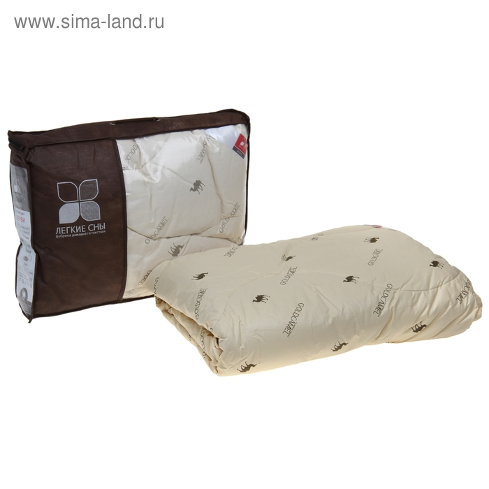 Одеяло стеганое Верби 110x140 см легкое 200 гр/м, верблюжья шерсть, тик беж