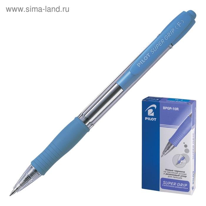 Ручка шариковая автомат Pilot Super Grip 0.7 SL резиновый упор, масляная основа стержень синий