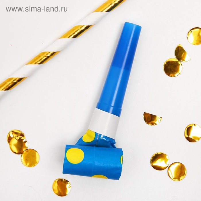 """Карнавальный язычок """"Горох"""", набор 6 шт., цвет синий"""