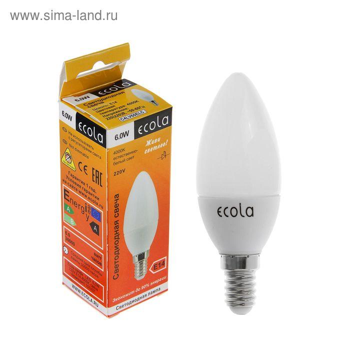 """Лампа светодиодная Ecola, E14, 6 Вт, 4000 K, """"свеча"""""""