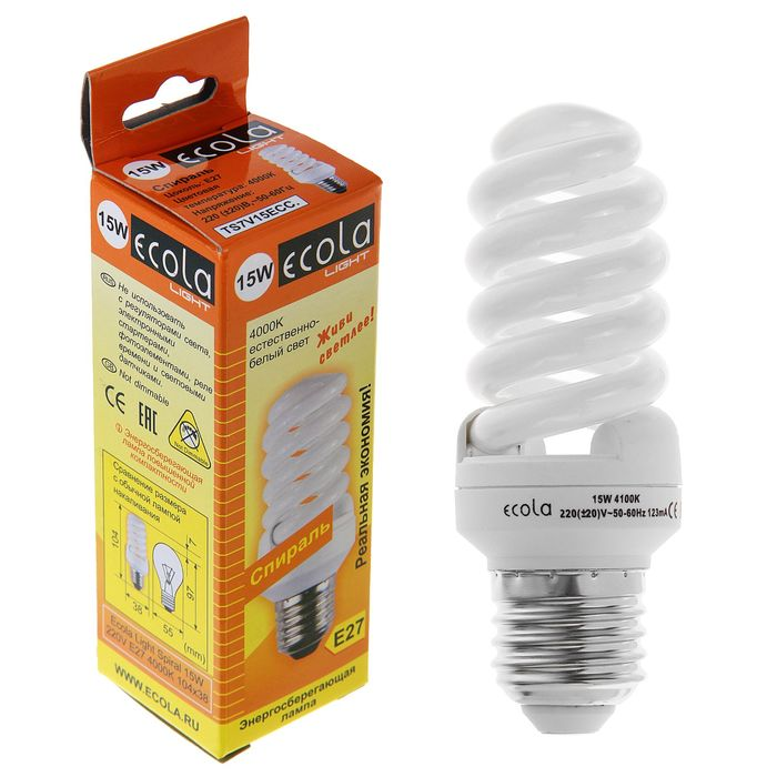 Лампа энергосберегающая Ecola, Е27, 15 Вт, 4000 K
