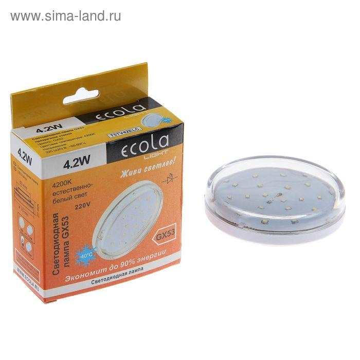 Лампа светодиодная Ecola, GX53, 4.2 Вт, 4200 K, стекло