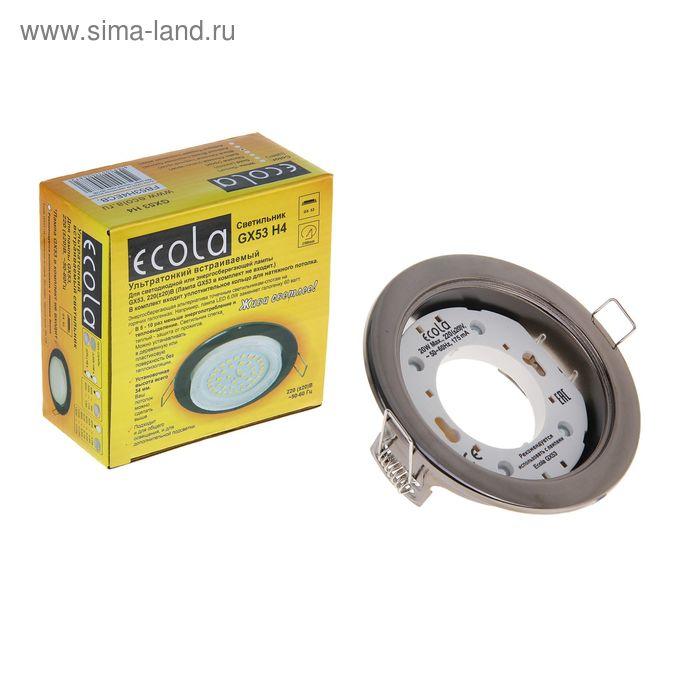Светильник встраиваемый Ecola, GX53, потолочный, 38x106 мм, цвет чёрный хром