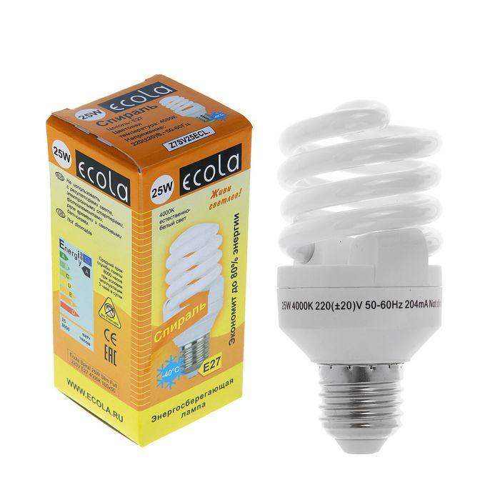 Лампа энергосберегающая Ecola, Е27, 25 Вт, 4000 К