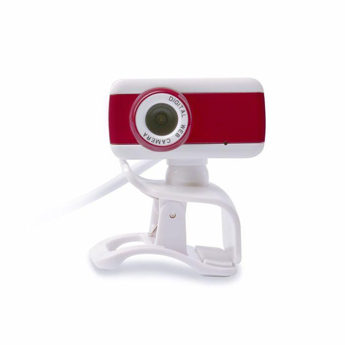 Веб-камера CBR CW-832M Red, 1.3 МП, 1280x1024, 4 линзы, микрофон, бело-красная