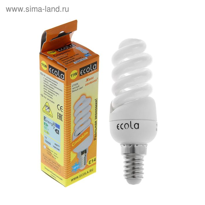 Лампа энергосберегающая Ecola, Е14, 11 Вт, 2700 К