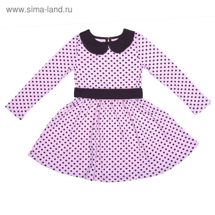 """Платье для девочки """"Осенний блюз"""", рост 128 см (64), цвет шоколадный/розовый, принт горошек (арт. ДПД854067н_Д)"""