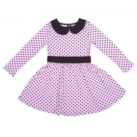 """Платье для девочки """"Осенний блюз"""", рост 98 см (52), цвет шоколадный/розовый, принт горошек (арт. ДПД854067н_Д)"""