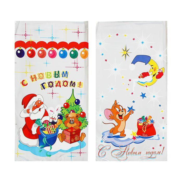 """Пакет подарочный """"Мороз и мышонок"""" 20 х 35 см, цветной металлизированный рисунок, микс"""