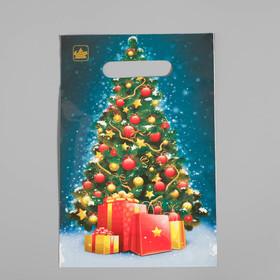 """Пакет """"Елочка с подарками"""", полиэтиленовый с вырубной ручкой, 30х20 см, 30 мкм"""