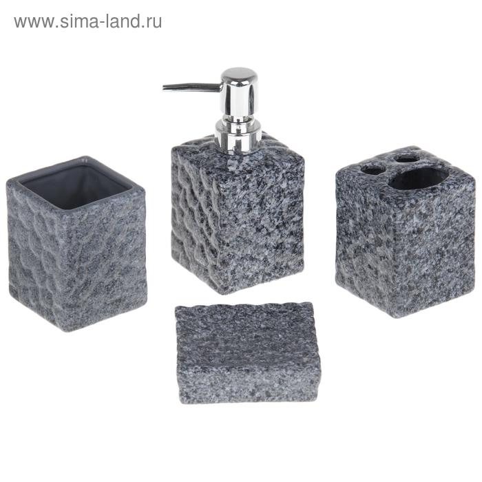 """Набор для ванной """"Гранит"""", 4 предмета: мыльница, дозатор для мыла, 2 стакана, цвета МИКС"""