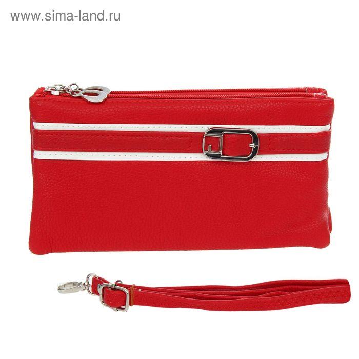 """Клатч женский """"Ремешок"""" 3 отдела, наружный карман, ручка, длинный ремень, матовый, цвет красный"""