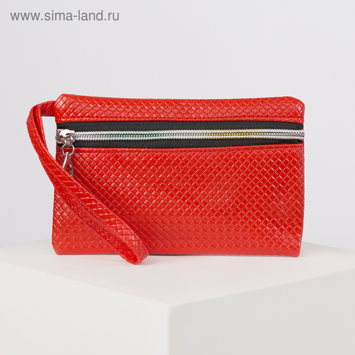 """Кошелёк женский """"Плетёнка"""", 1 отдел, ручка, глянцевый, цвет красный"""