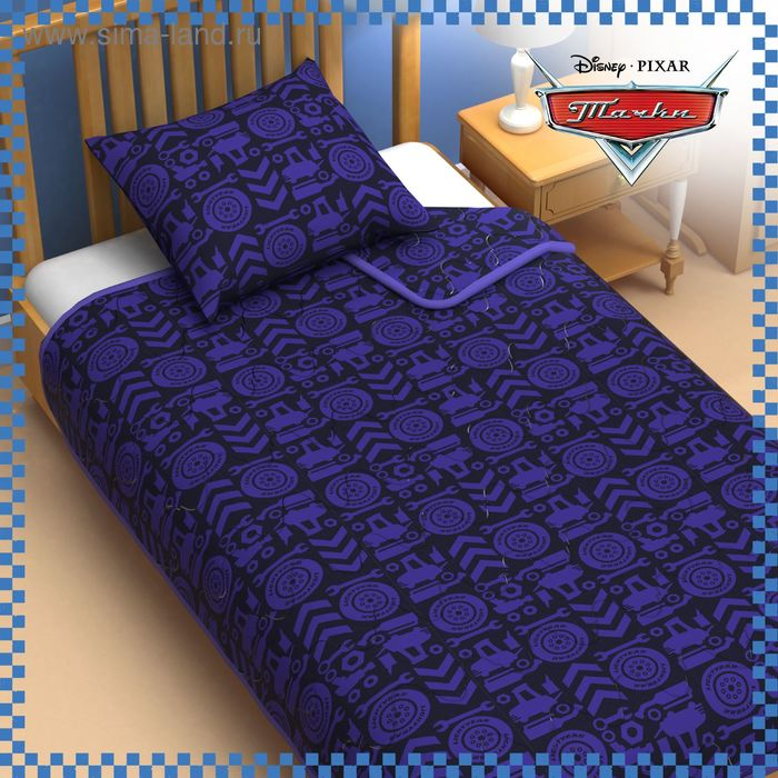 "Одеяло 1,5 сп ""Тачки"" 140*205 см файбер, поплин, 200 г/м2"
