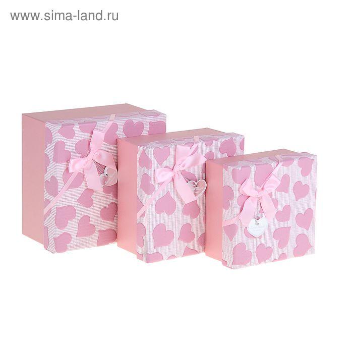 """Набор коробок 3в1""""Сердца"""", цвет розовый"""