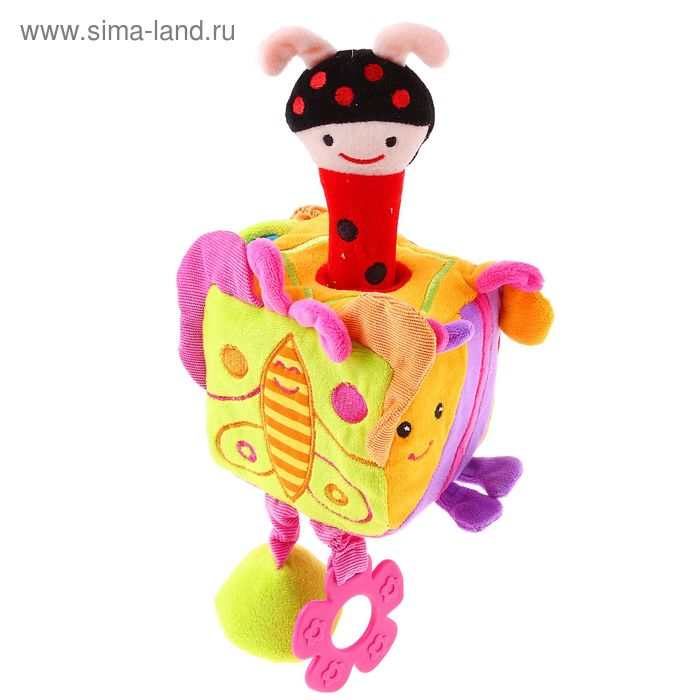 """Развивающая игрушка """"Кубик с жучком"""" с пищалкой и прорезывателем"""