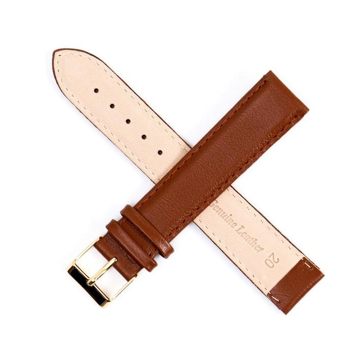 Ремень кожаный, присоед. р-р 20 мм, коричневый  удлиненный  микс