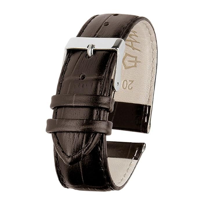 Ремень кожаный, присоед. р-р 20 мм, отделка крокодил, темно-коричневый, удлиненный микс