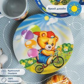 """Набор детской посуды """"Мишка на велосипеде"""", 3 предмета: кружка 230 мл, миска 400 мл, тарелка d=18 см"""