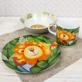 """Набор детской посуды """"Лёва"""", 3 предмета: кружка 230 мл, миска 400 мл, тарелка"""