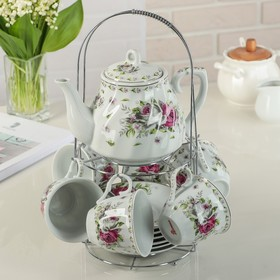 """Сервиз чайный на подставке """"Цветочный маскарад"""", 13 предметов: чайник 1 л, 6 чашек 210 мл, 6 блюдец"""