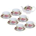 """Сервиз чайный """"Нинель"""", 13 предметов: чайник 800 мл, 6 чашек 220 мл, 6 блюдец"""