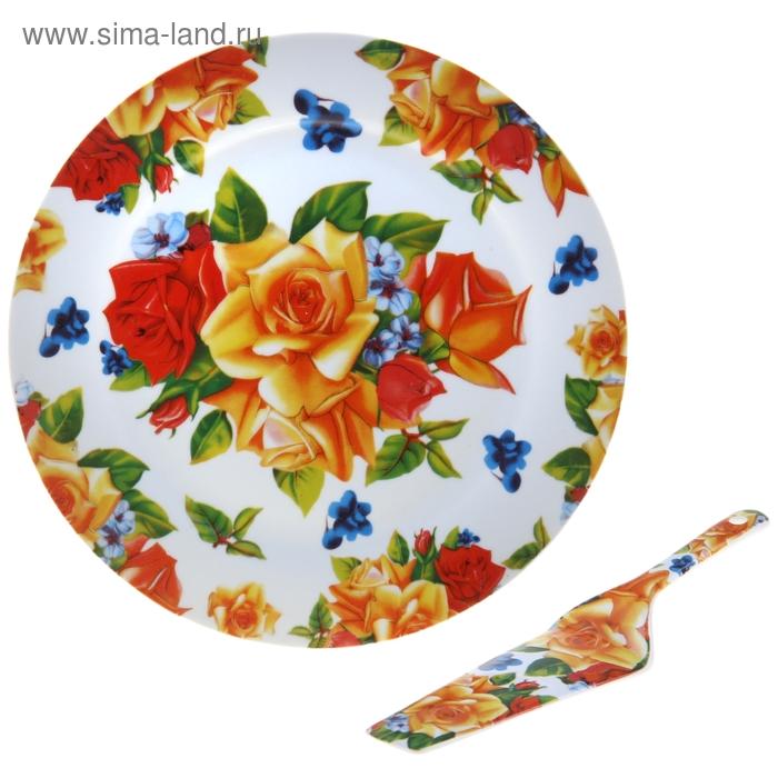 """Тортовница с лопаткой """"Чайная роза"""", d=27 см"""