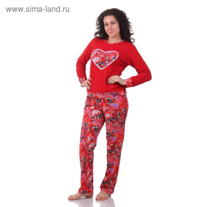 Пижама женская (фуфайка, брюки) М333 МИКС, р-р 58 кулирка