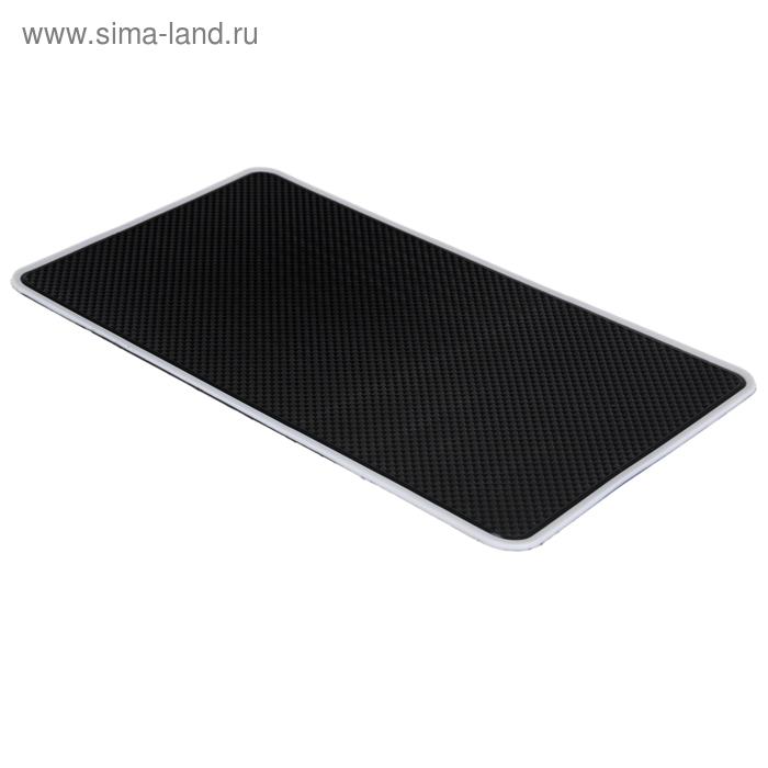 Коврик противоскользящий 14,5х26см, черный с белой окантовкой