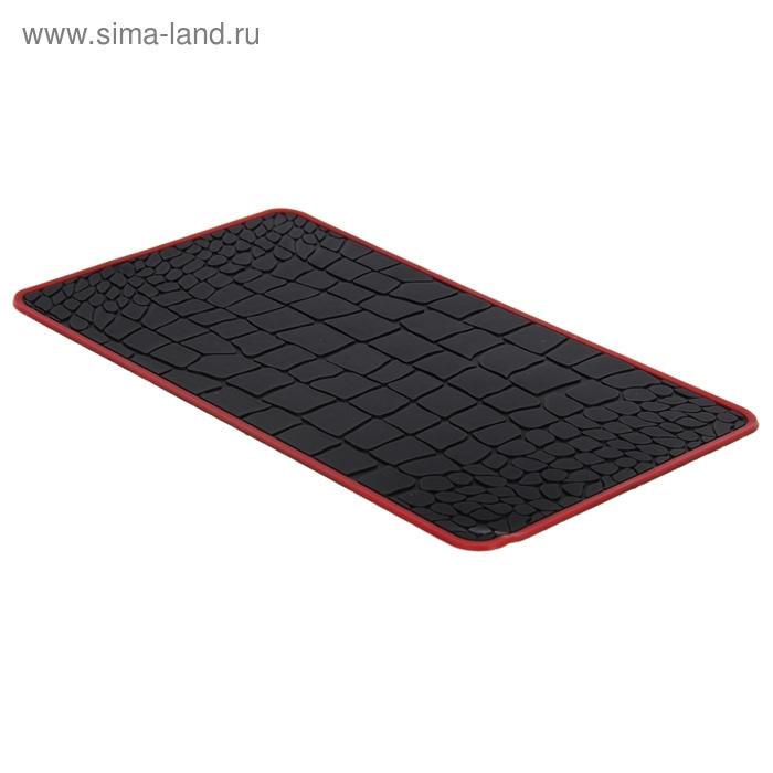 Коврик противоскользящий 14,5х26см, черный с красной окантовкой