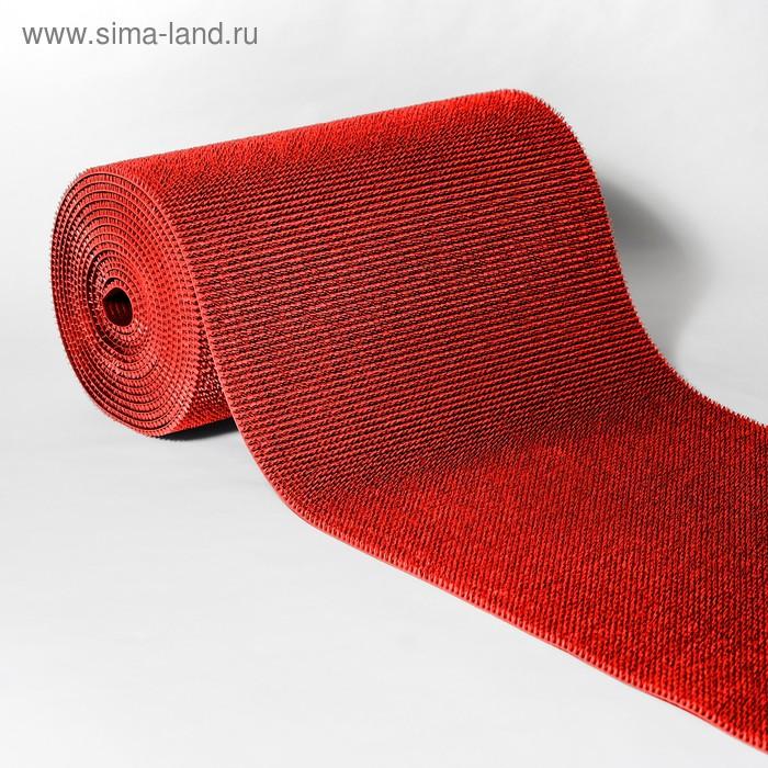 """Покрытие ковровое, щетинистое, ширина 90 см, рулон 15 м """"Травка"""", цвет красный"""