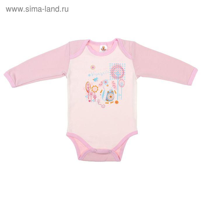 """Боди для девочки """"Слоник"""" длинный рукав, рост 80 см (48), цвет молочный/розовый 5957"""