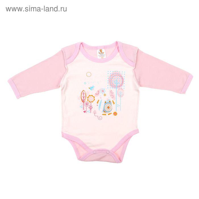 """Боди для девочки """"Слоник"""" длинный рукав, рост 56 см (36), цвет молочный/розовый 5957"""