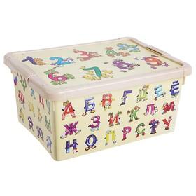 """Ящик для игрушек с аппликацией """"Буквы и цифры"""" с крышкой, 8 л, цвет бежевый"""