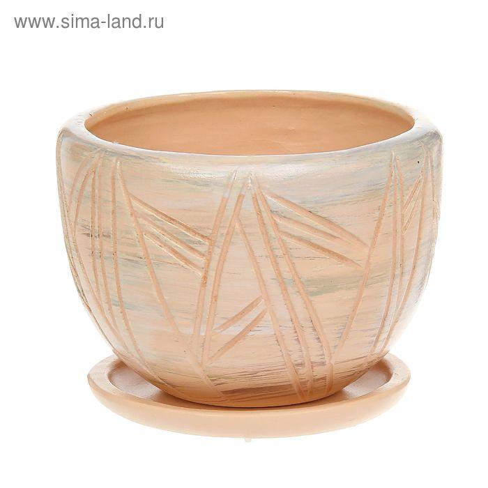 "Кашпо ""Чаша"" бамбук, бежевое 1,5 л"