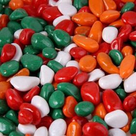 """Грунт для аквариума """"Галька цветная, зеленый-рыжий-красный-белый"""" 800г фр 8-12 мм"""