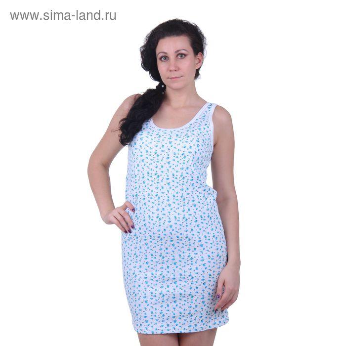 "Сорочка ""бабушкина"" 1748 белый/джульетта/яр.бирюзовый, рост 158,164 см, р-р 50 (100)"