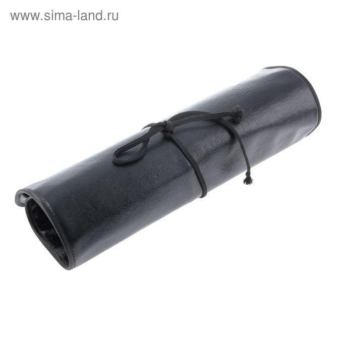 Пенал для кистей мягкий футляр (скатка) 410*380 мм, искусственная кожа, черный