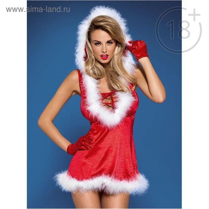 Эротическое бельё Santa lady dress платье+перчатки+стринги, размер S/M (42-44), цвет красный