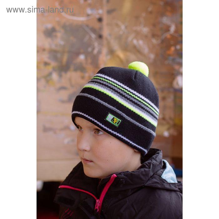 """Шапка подростковая """"ДЖУНИОР"""", размер 54-56, цвет черный/лимон 130751"""