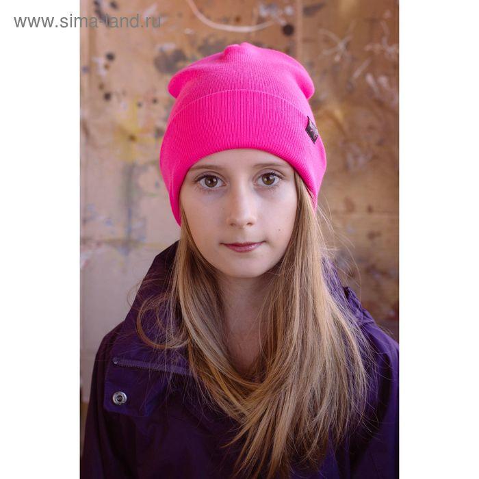 """Шапка подростковая """"МИНИ"""", размер 54-56, цвет розовый 160802"""