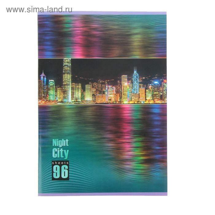 Тетрадь А4, 96 листов линейка Night City, матовая ламинация, выборочный лак