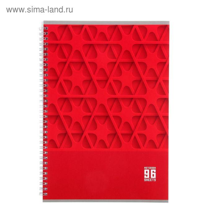 Тетрадь А4 96 листов клетка на гребне MonoColor-красная, ламинация