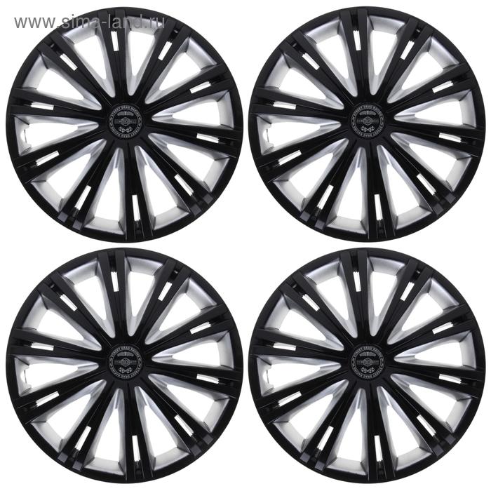 """Колпаки колесные R15 """"Гига"""" Super Black, набор 4 шт."""