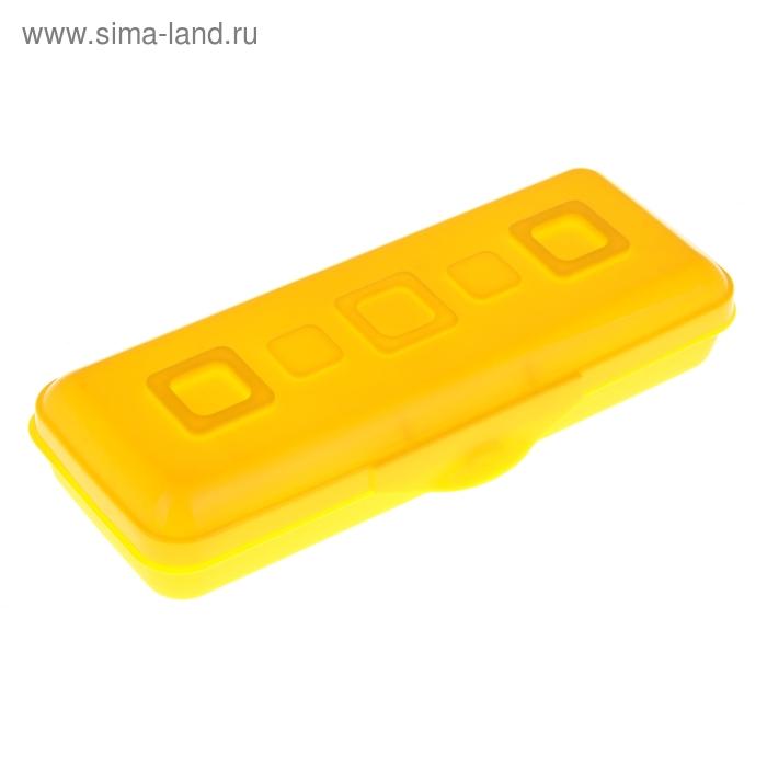 "Пенал пластиковый футляр 90х210х40 мм ""Премиум"", желтый"